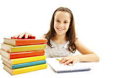 Casual student doing her homework Stock Image