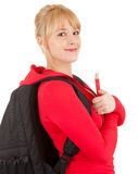Casual student woman with book Stock Photo