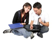 Casual students on the floor Royalty Free Stock Photos