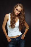 Casual style. Girl in studio Royalty Free Stock Photo