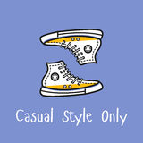 The casual style vintage. Sport boots in outline style. Perfect for corporate card or posters. Vector design royalty free illustration