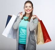 Casual style woman hold shopping bag. Studio female  po Stock Photo