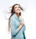 Casual style woman with motion hair Royalty Free Stock Images