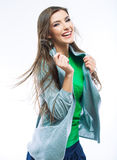 Casual style woman with motion hair Stock Photography