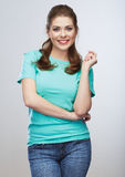 Casual style young woman  portrait. Toothy smile. Royalty Free Stock Photo