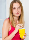 Casual style young woman posing hold water glass Royalty Free Stock Photo