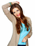 Casual style young woman posing on isolated studio background. Stock Photos