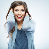 Casual style young woman posing on  studio background. B Royalty Free Stock Images