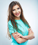 Casual style young woman posing on  studio backgro Stock Photo
