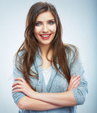 Casual style young woman posing on  studio background. Royalty Free Stock Photo