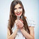 Casual style young woman posing on  studio backgro Royalty Free Stock Photography