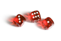 Casual success. Red glass cubes (three pieces). A white isolated background Stock Photos