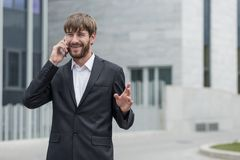 Casual talk over the phone Stock Photo
