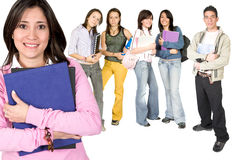 Casual teacher and her students Royalty Free Stock Images