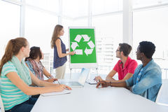Casual team having meeting about eco policy Stock Image