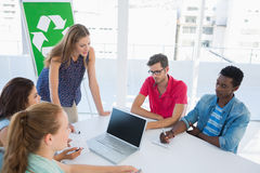 Casual team having meeting about eco policy Royalty Free Stock Photo
