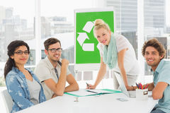 Casual team having meeting about eco policy Royalty Free Stock Photos