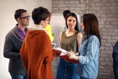 Casual teamwork meeting -Presentation and training royalty free stock photography