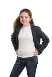 Casual Teen In Denim. A casual teen girl modeling denim and a white t-shirt Stock Image