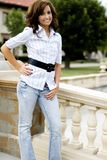 Casual Teen Fashion Model. Brunette teen female fashion model in casual clothes Royalty Free Stock Photos