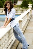 Casual Teen Fashion Model. Brunette teen female fashion model in casual clothes Stock Photography