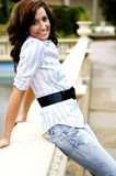 Casual Teen Fashion Model. Brunette teen female fashion model in casual clothes Stock Images