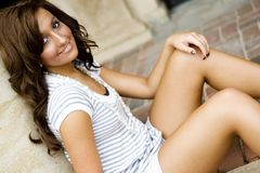 Casual Teen Fashion Model. Brunette teen female fashion model in casual clothes Stock Photos