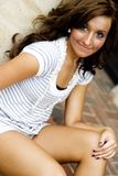 Casual Teen Fashion Model. Brunette teen female fashion model in casual clothes Royalty Free Stock Images