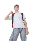Casual teenage boy preparing to school standing Royalty Free Stock Image