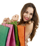 Casual teenage girl with shopping bags Stock Photos