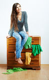 Casual teenager girl portrait. Beautiful young wom Stock Image
