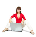 Casual  teenager with laptop Royalty Free Stock Image
