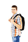 Casual teenager preparing to school standing Royalty Free Stock Photo