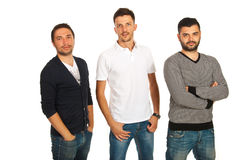 Casual three friends men Royalty Free Stock Images