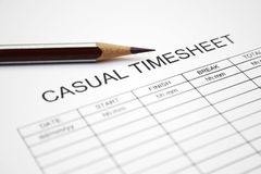 Casual time sheet. Close up of casual time sheet Royalty Free Stock Images
