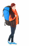 Casual tourist girl with backpack, full length Stock Image