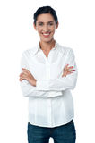 Casual trendy woman posing smilingly Stock Photo