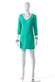 Casual turquoise dress on mannequin. Royalty Free Stock Photography