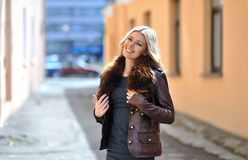 Casual urban portrait of happy woman outdoor. Casual urban portrait of happy woman Royalty Free Stock Images