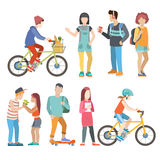 Casual urban young people bicycle student flat vector people Royalty Free Stock Photography