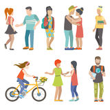 Casual urban young people skater bicycle student flat vector Stock Photography