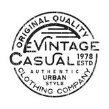 Casual vintage stamp. T-shirt print design. Casual vintage stamp for denim, t shirt. Printing and badge, applique, label, t-shirts, jeans, casual and urban wear Stock Image