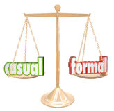 Casual Vs Formal Words Scale Informal Relax or Official Black Ti Stock Photos