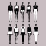 casual wear. Top. Pants. Shorts. Jeans. Jumper. Blouse.   Royalty Free Stock Photos