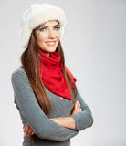 Casual winter style yong woman portrait. Girl studio isolated, p Stock Photo