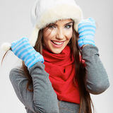 Casual winter style yong woman portrait. Girl studio isolated, Royalty Free Stock Images