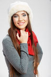 Casual winter style yong woman portrait. Girl studio isolated, Royalty Free Stock Photo