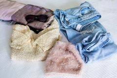 Casual winter woman outfit. Fashionable concept Royalty Free Stock Photo