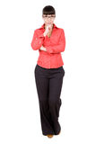 Casual woman. Young adult woman over white background Royalty Free Stock Image
