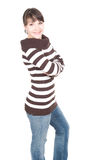 Casual woman. Young adult woman over white background Stock Image